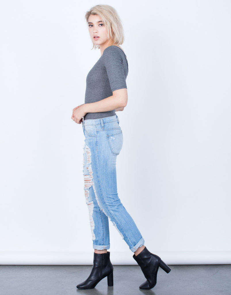 Super Destroyed Boyfriend Jeans - 2020AVE