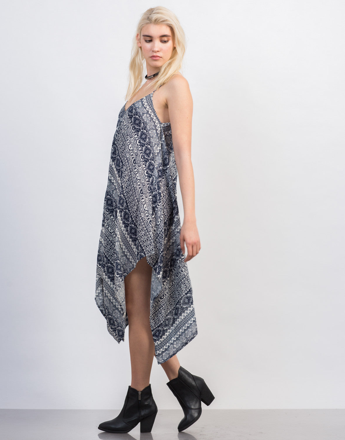 Side View of Super Flowy Printed Dress