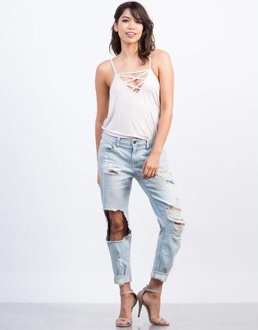 Front View of Super Light Wash Boyfriend Jeans