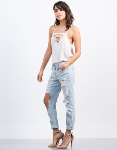 Side View of Super Light Wash Boyfriend Jeans