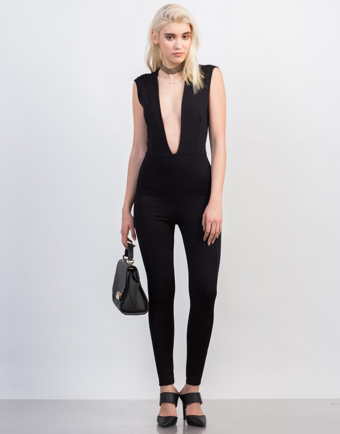 Front View of Super Plunging Jumpsuit
