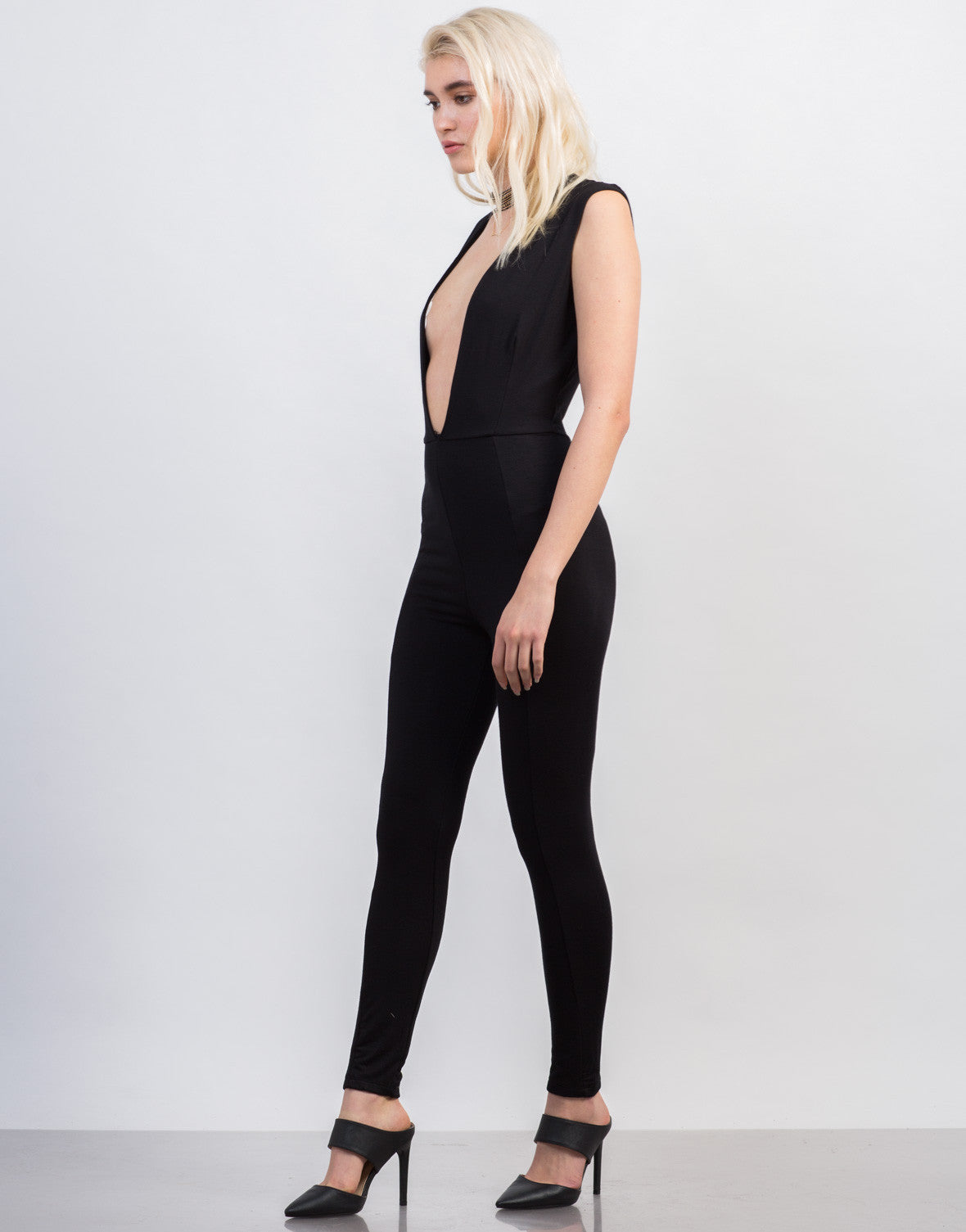 Side View of Super Plunging Jumpsuit