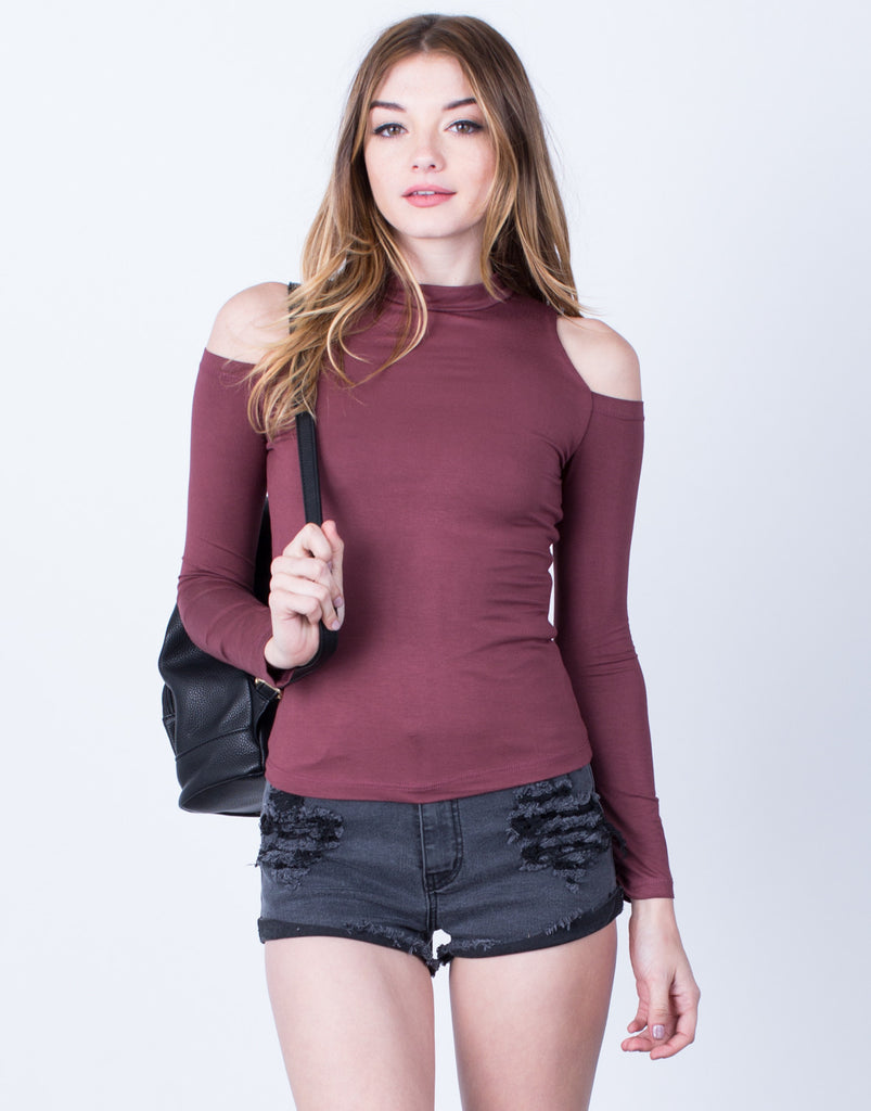 Front View of Super Soft Cold Shoulder Top