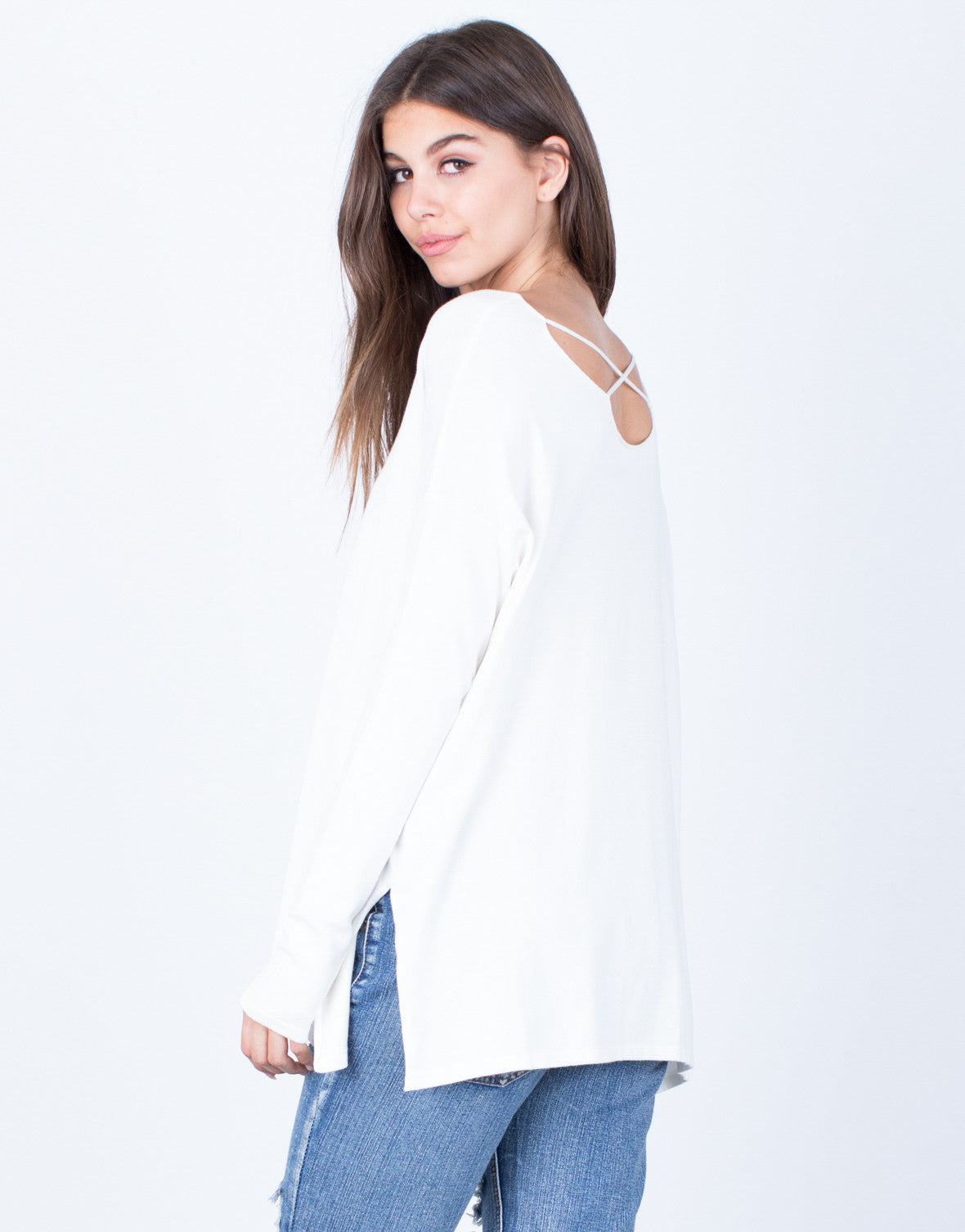 Back View of Super Soft Criss Criss Blouse