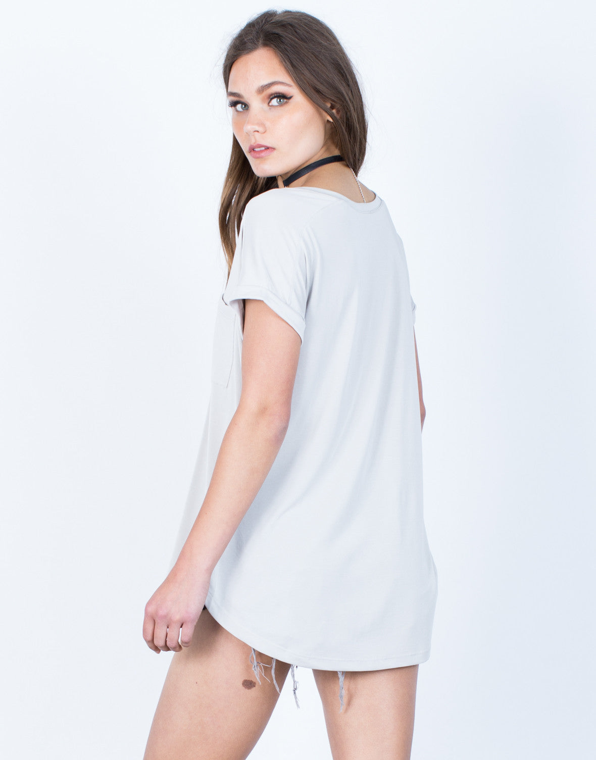 Back View of Super Soft Cuffed T-Shirt