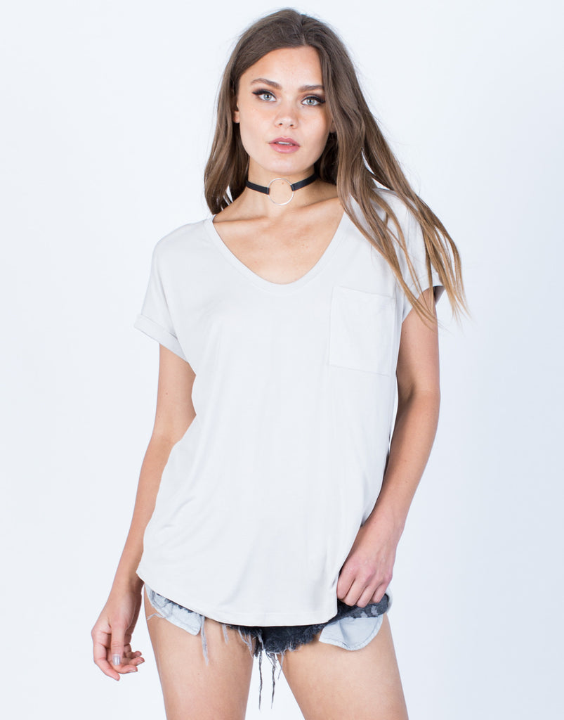 Front View of Super Soft Cuffed T-Shirt