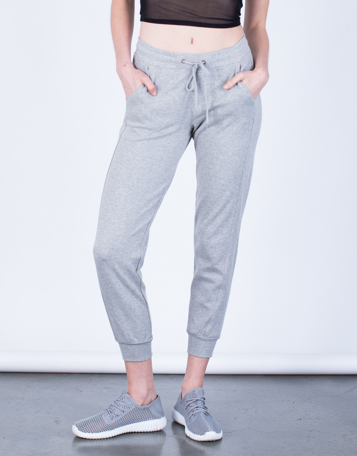 Front View of Super Soft Drawstring Joggers