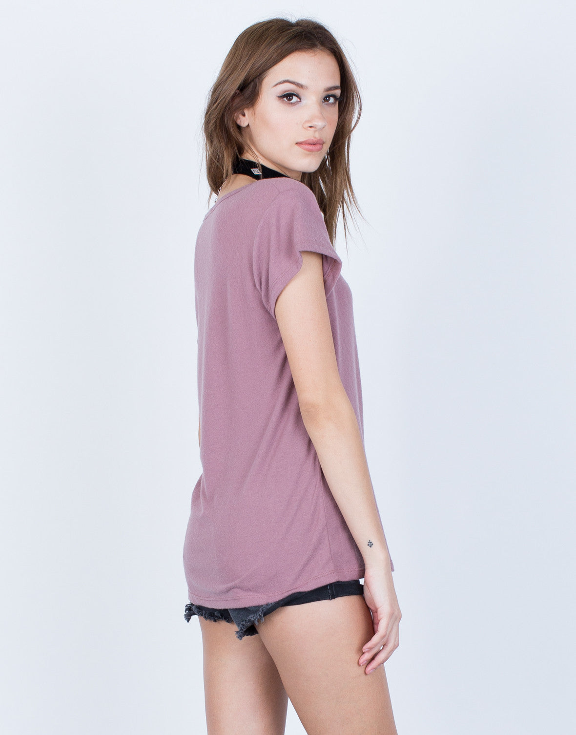 Back View of Super Soft Knit Tee