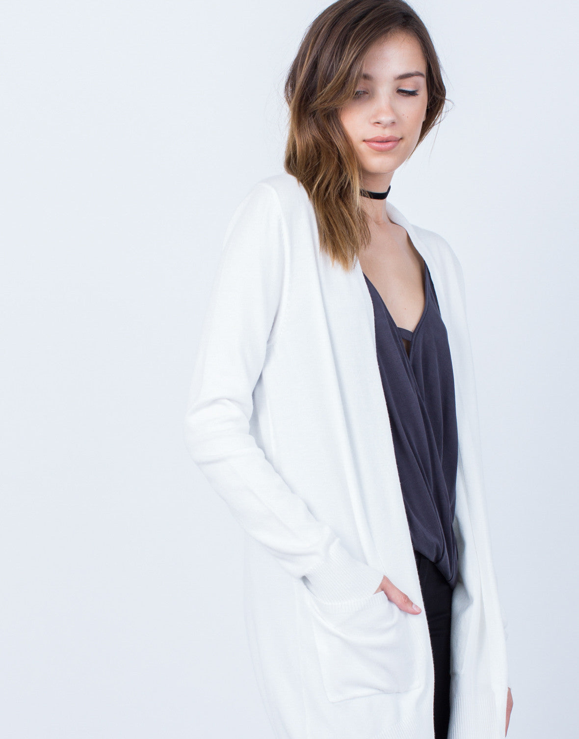 a753afde1 Super Soft Knitted Cardigan - White Knit Cardigan - Oatmeal Open ...