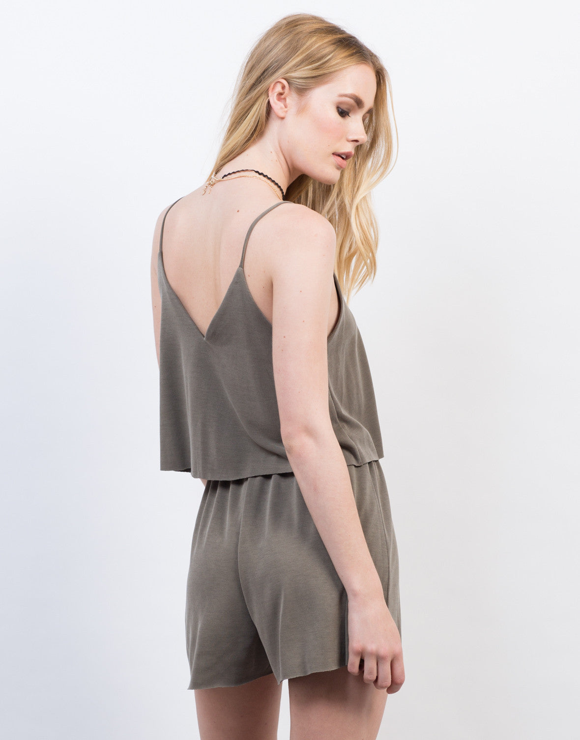 Back View of Super Soft Tiered Romper
