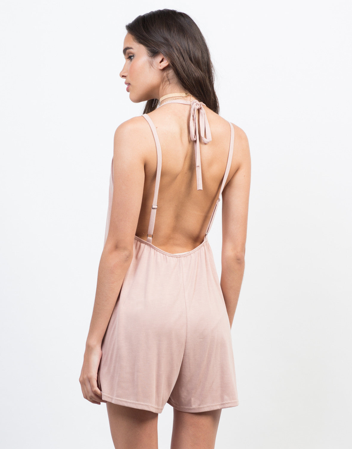 Back View of Super Soft V-Neck Romper
