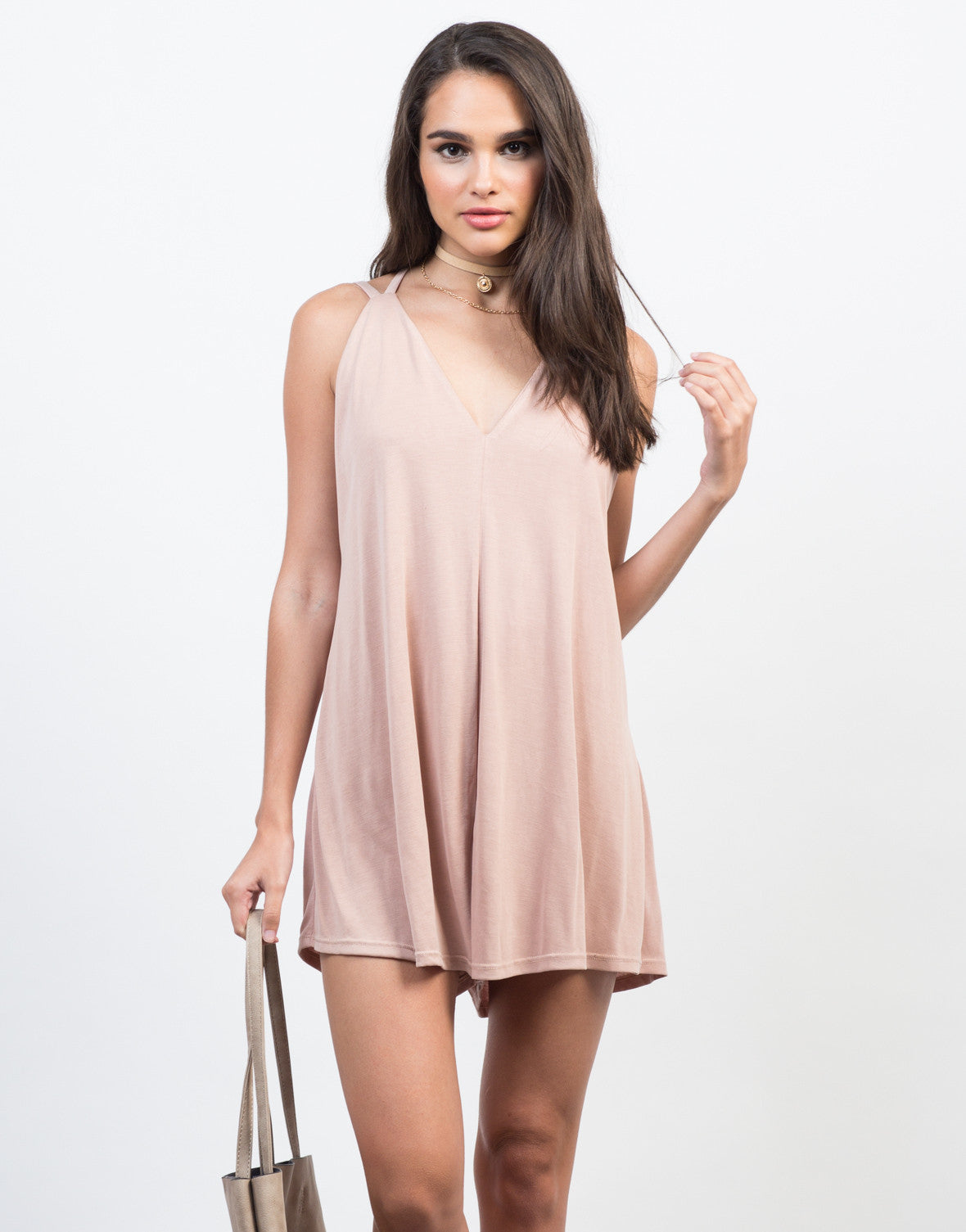 Front View of Super Soft V-Neck Romper