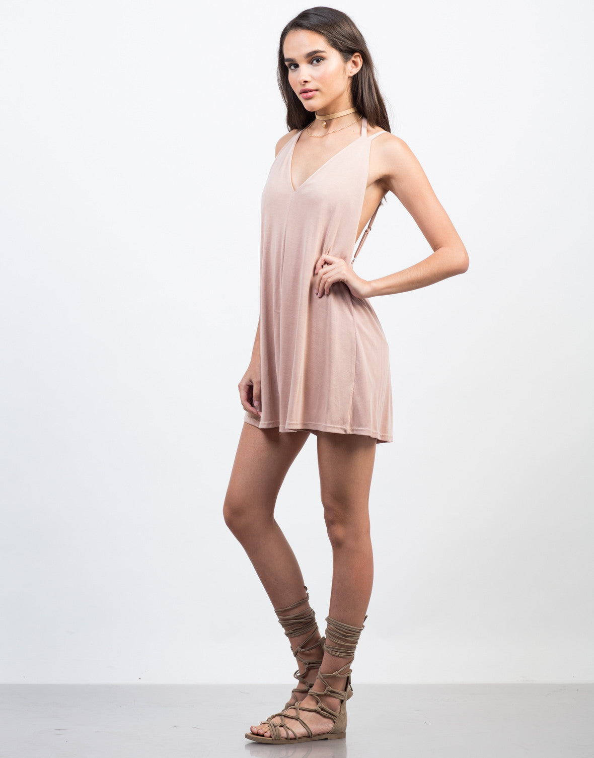 Side View of Super Soft V-Neck Romper