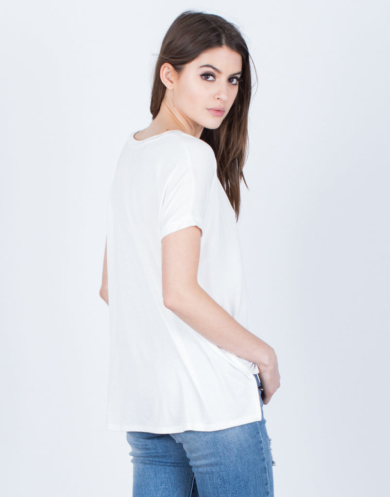 Back View of Super Soft V-Neck Tee