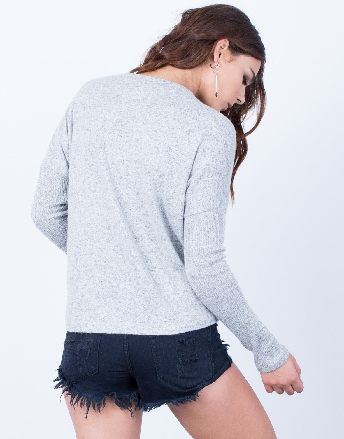 Back View of Super Softy Sweater Top