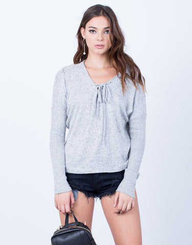 Front View of Super Softy Sweater Top