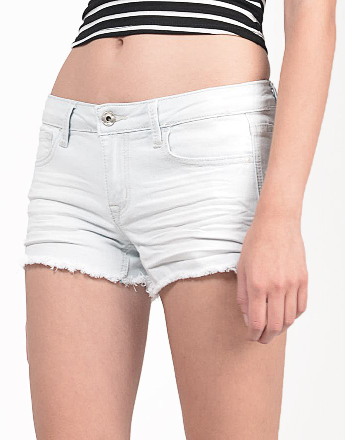 Detail of Super Light Wash Frayed Denim Shorts