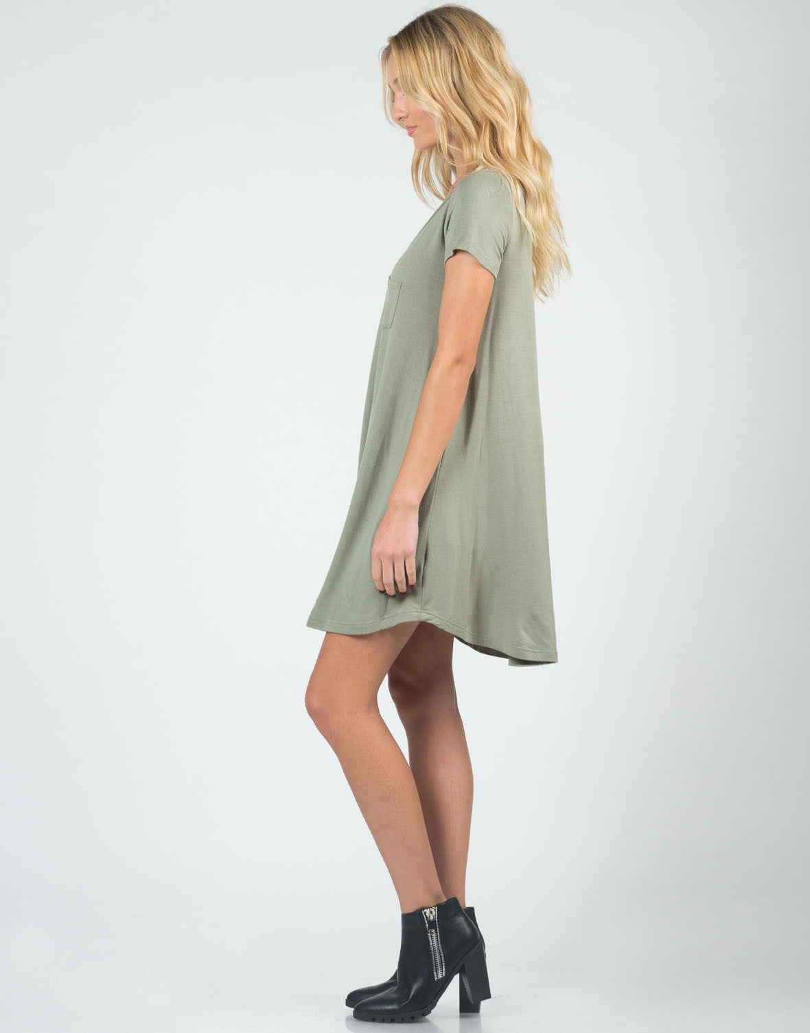 Side View of Super Soft and Flowy Dress