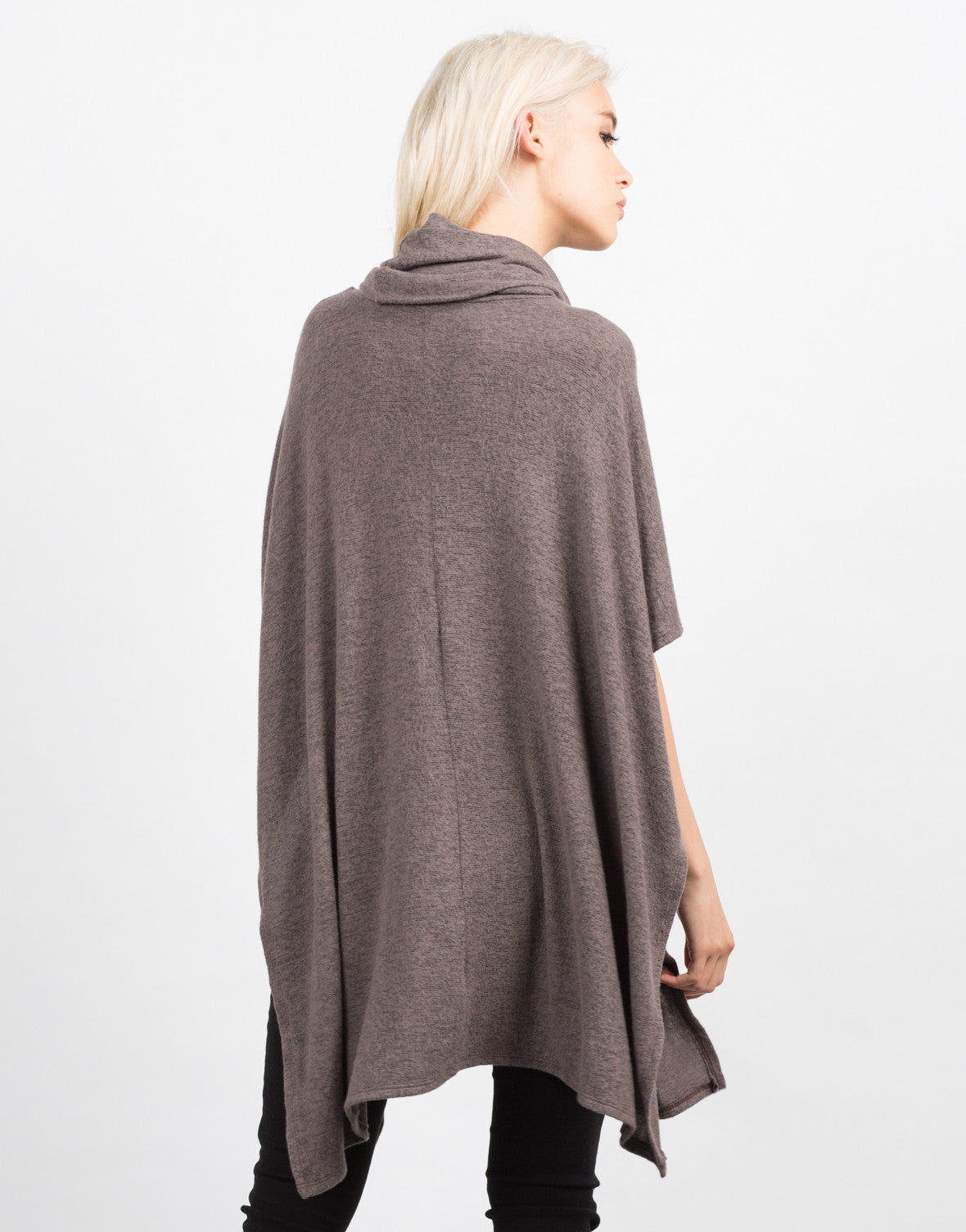 Back View of Super Soft Cowl Neck Sweater Top