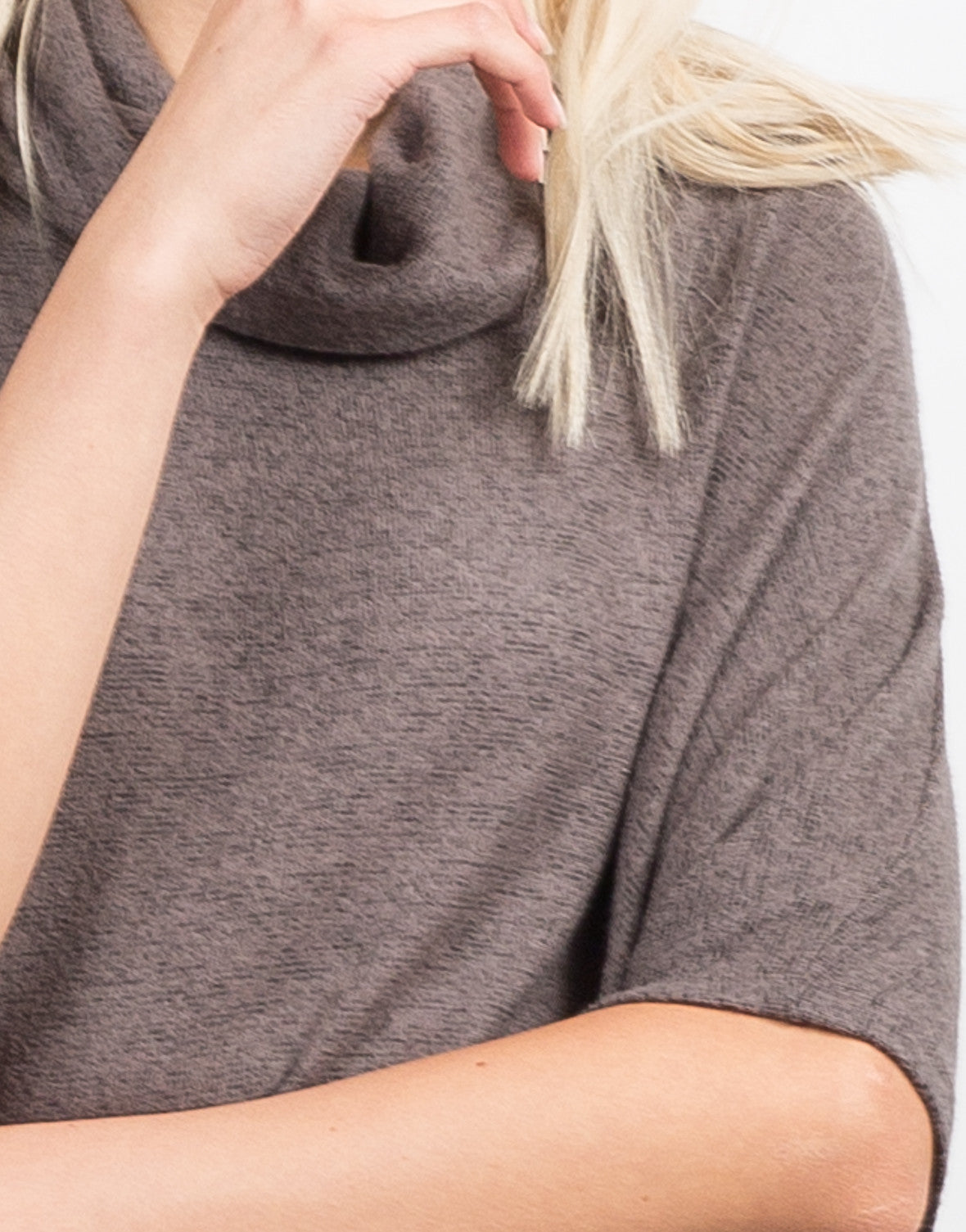 Detail of Super Soft Cowl Neck Sweater Top