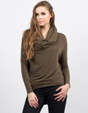 Front View of Super Soft Cowl Neck Top