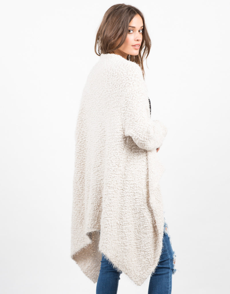 Back View of Super Soft Fur Cardigan - Cream