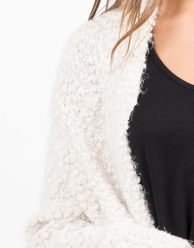 Detail of Super Soft Fur Cardigan - Cream