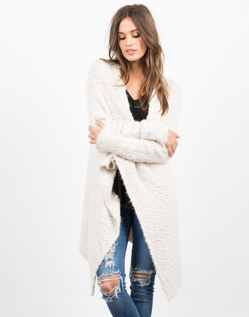 Front View of Super Soft Fur Cardigan - Cream