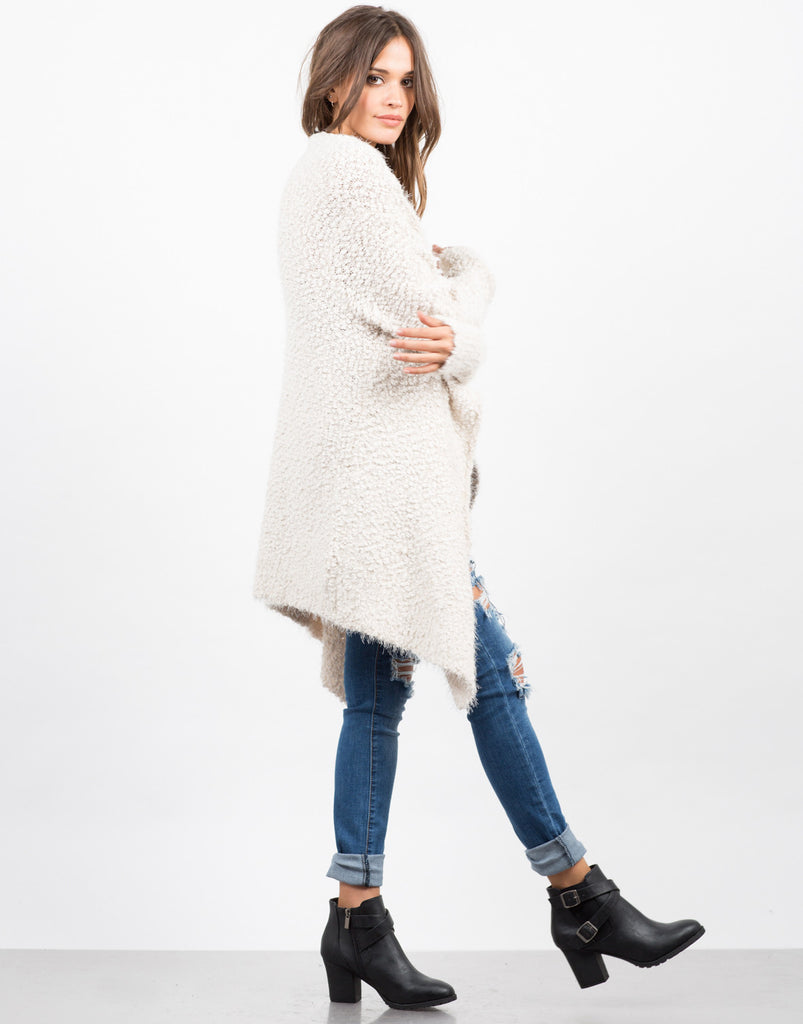 Side View of Super Soft Fur Cardigan - Cream