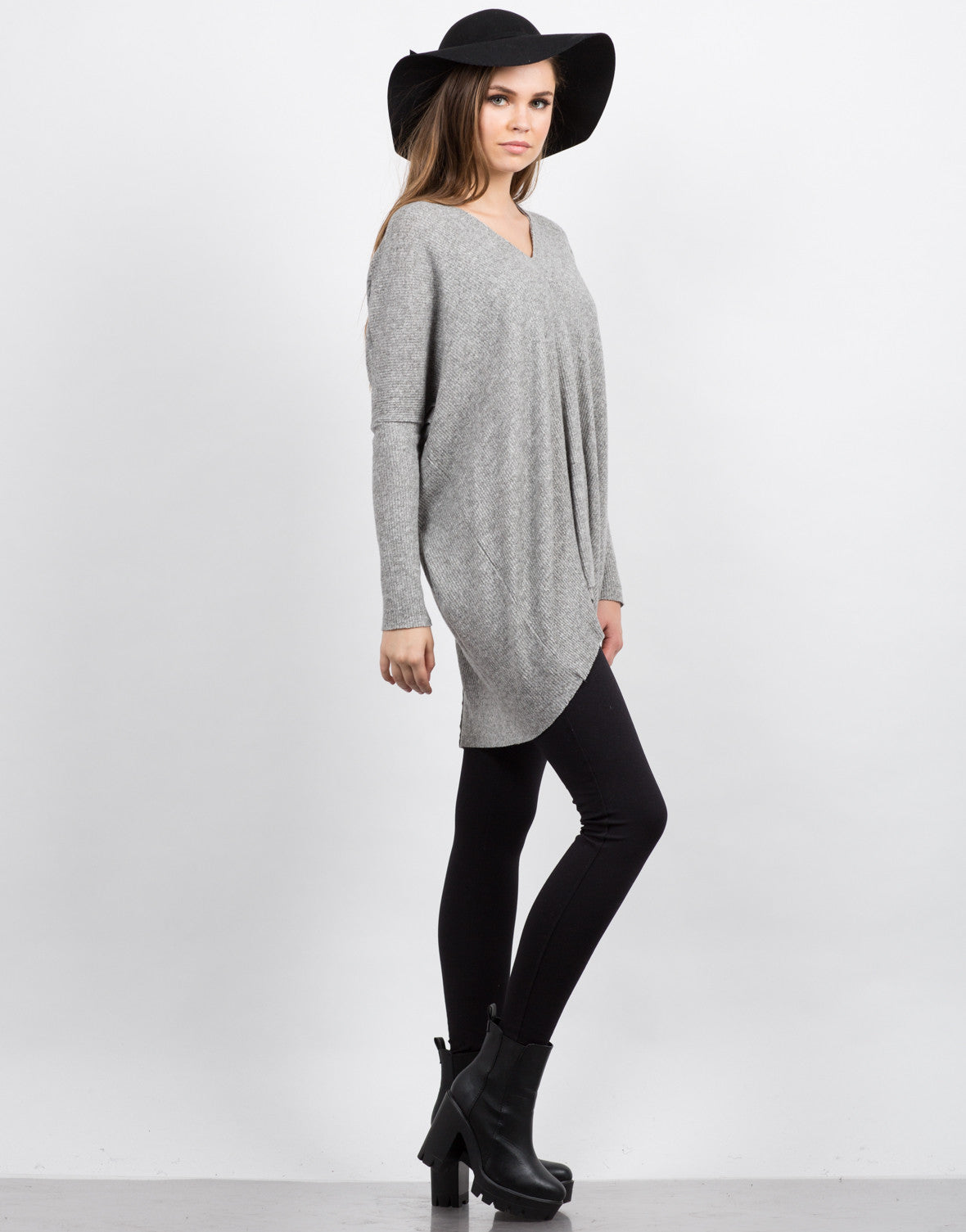 Side View of Super Soft Long Sleeve Top