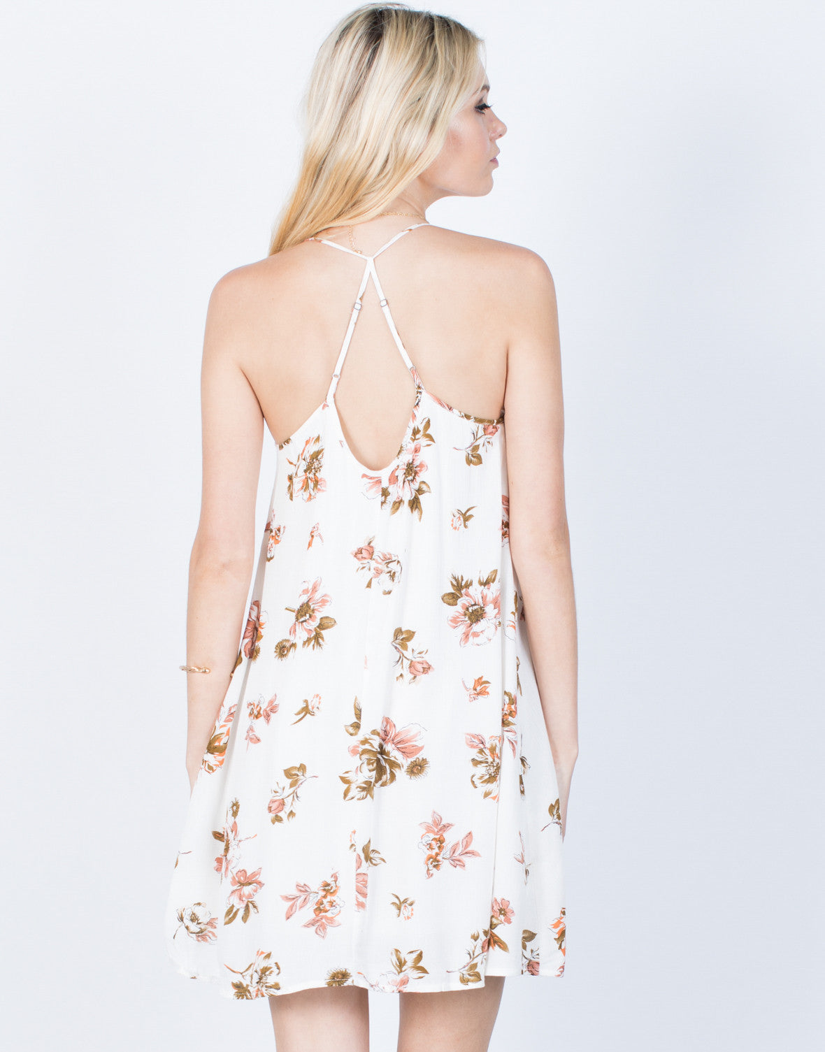 Back View of Sway with Florals Dress