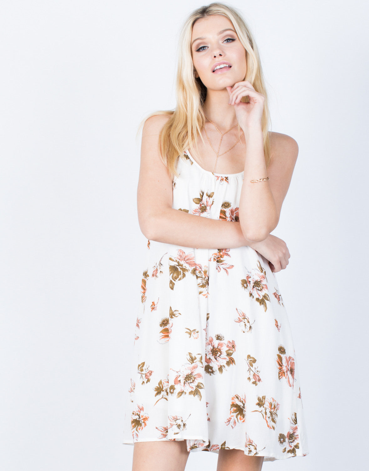 Front View of Sway with Florals Dress