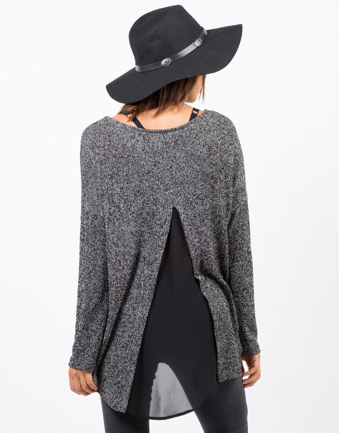 Back View of Sweater Chiffon Top