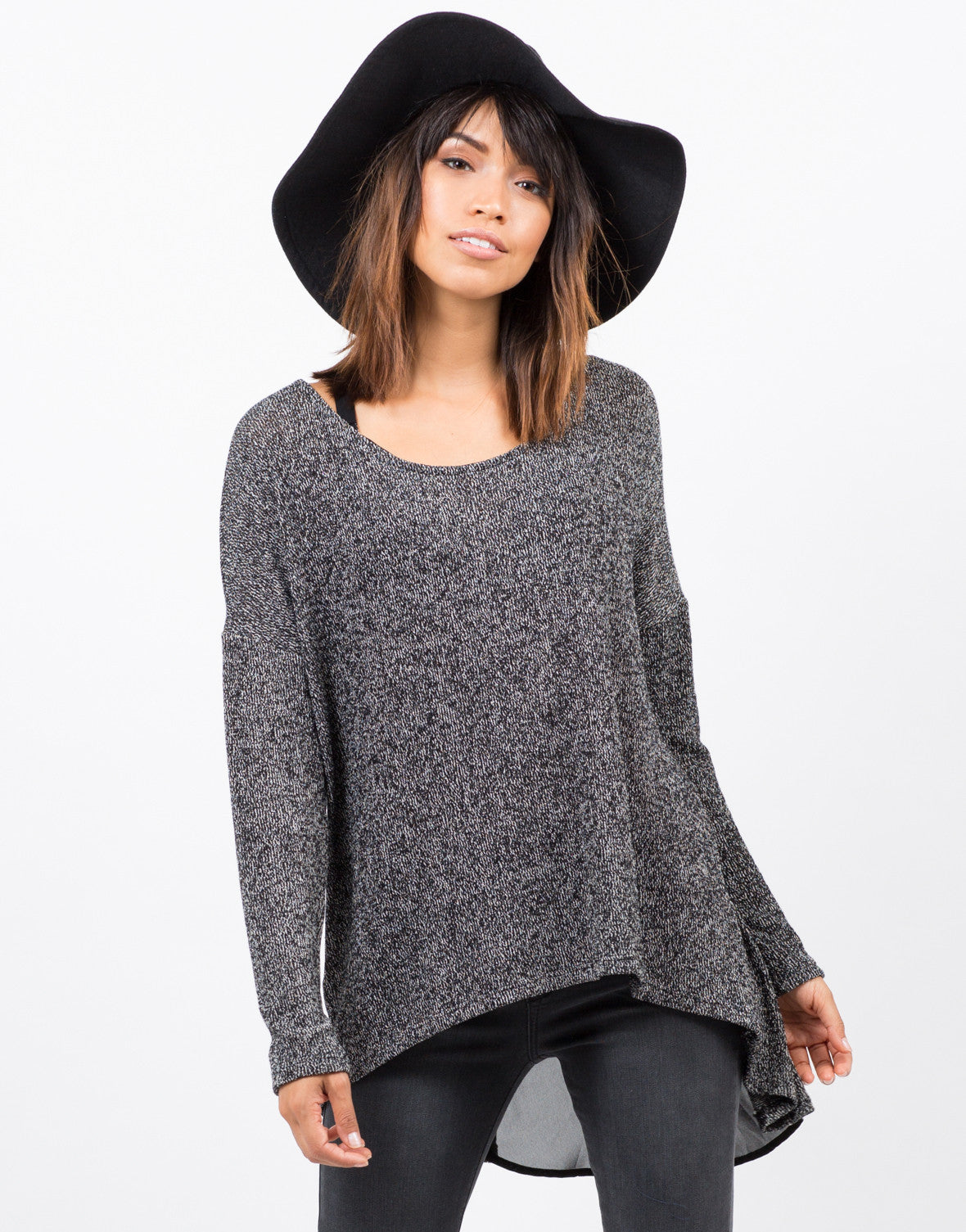 Front View of Sweater Chiffon Top