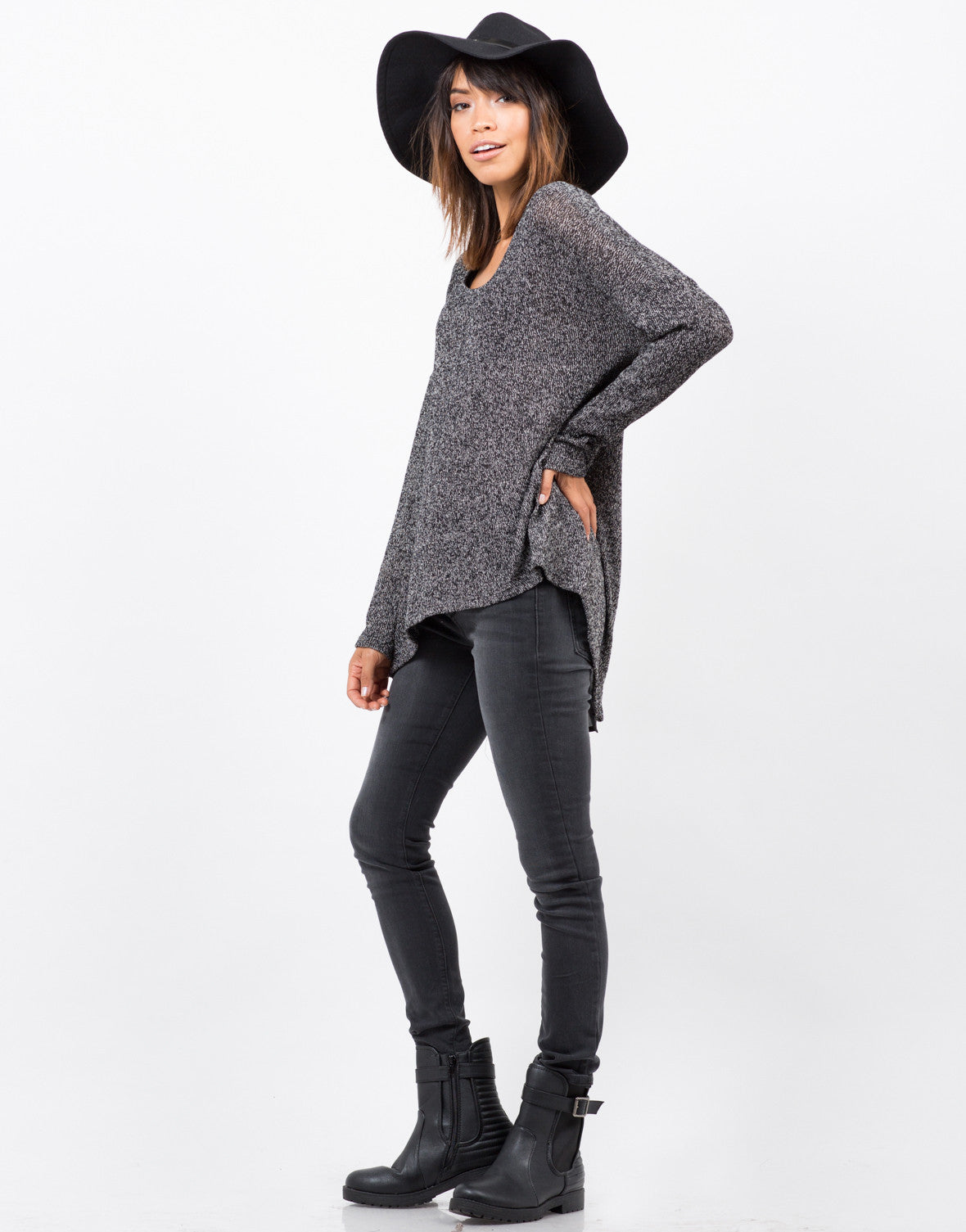 Side View of Sweater Chiffon Top