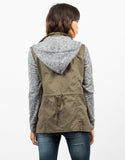 Back View of Sweater Contrast Utility Jacket
