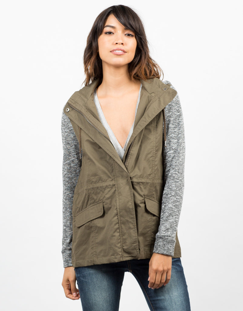 Sweater Contrast Utility Jacket - 2020AVE