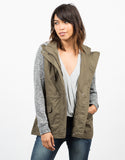 Front View of Sweater Contrast Utility Jacket