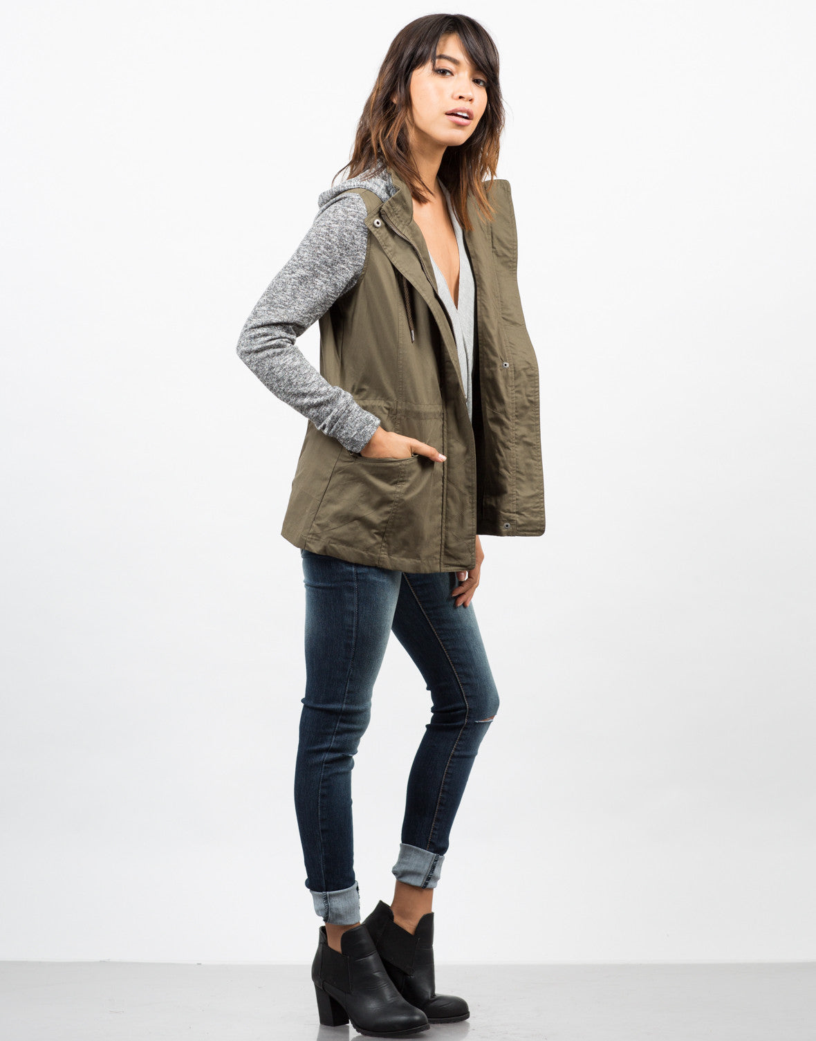 Side View of Sweater Contrast Utility Jacket