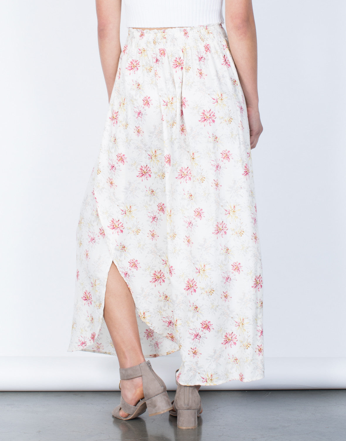 Back View of Sweet Floral Maxi Skirt