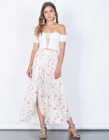Front View of Sweet Floral Maxi Skirt