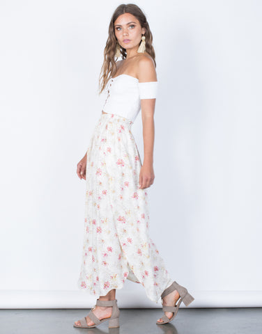 Side View of Sweet Floral Maxi Skirt