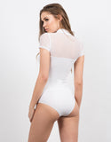 Back View of Sweetheart Mesh Bodysuit