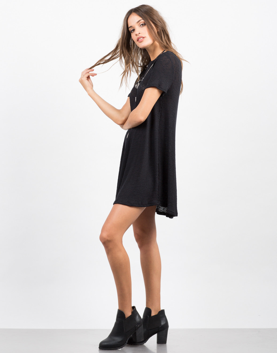 Side View of Swing It T-Shirt Dress