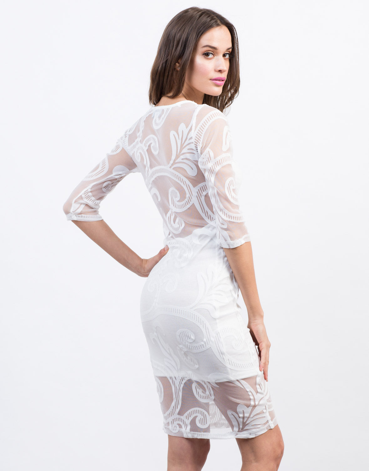 Back View of Swirl Mesh Midi Dress