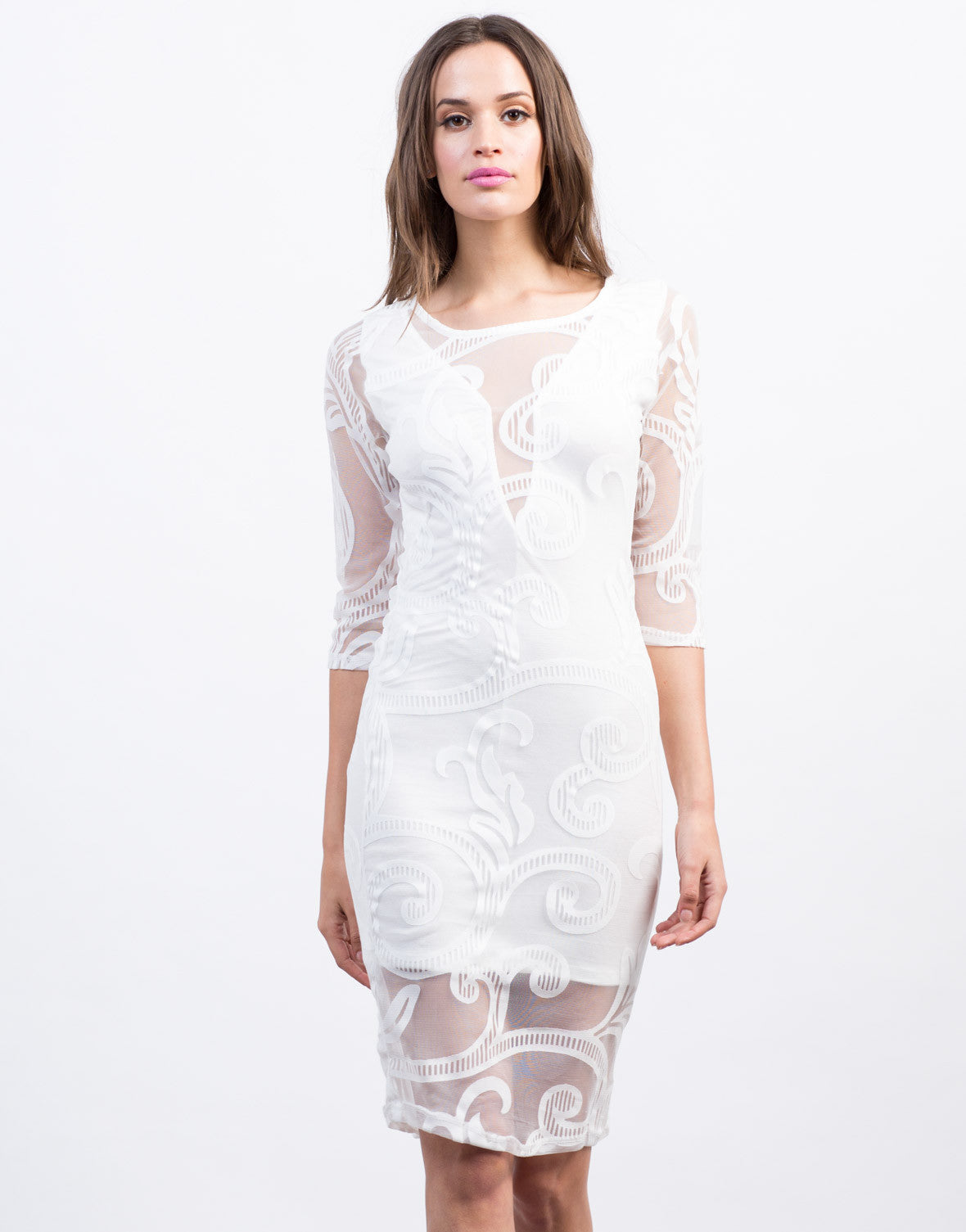 Front View of Swirl Mesh Midi Dress