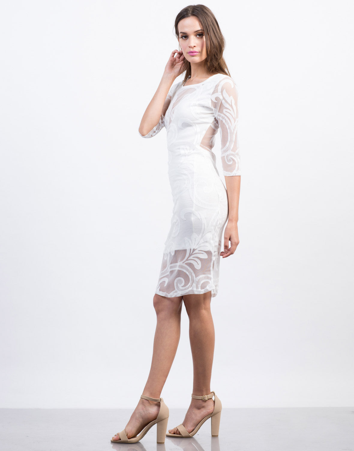 Side View of Swirl Mesh Midi Dress