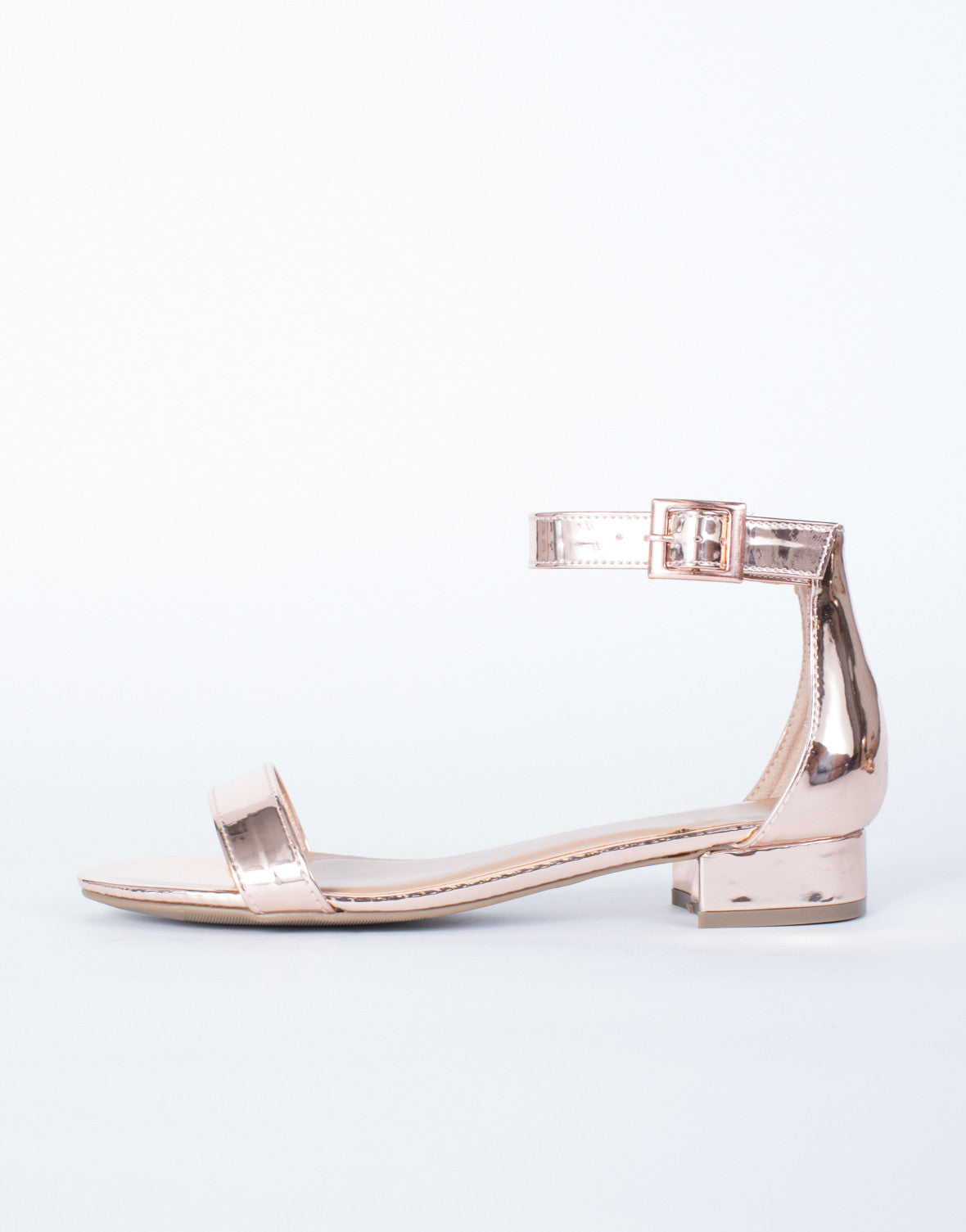 987a4d1ff108 Sylvia Metallic Sandals - Metallic Rose Gold Sandals - Low Block ...