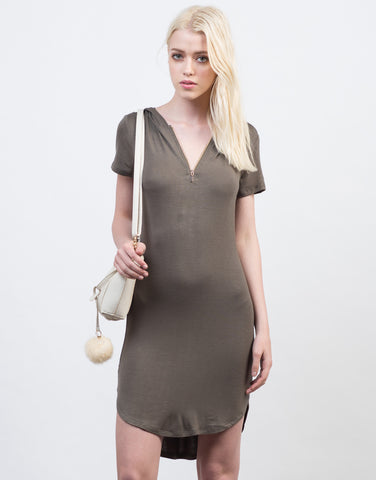 Front View of T-Shirt Hoodie Jersey Dress