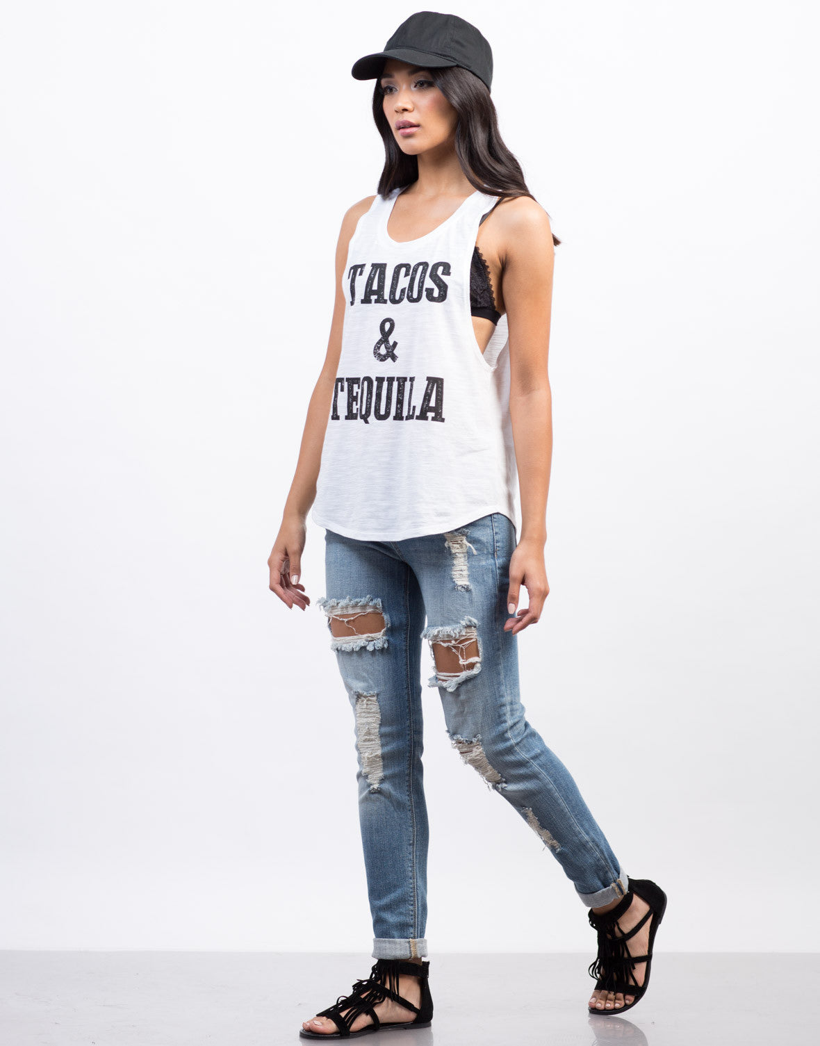 Side View of Tacos and Tequila Muscle Tank